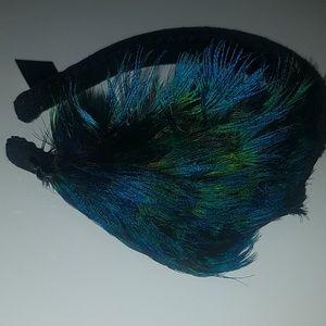 Black Headband blue green Turquoise feathers